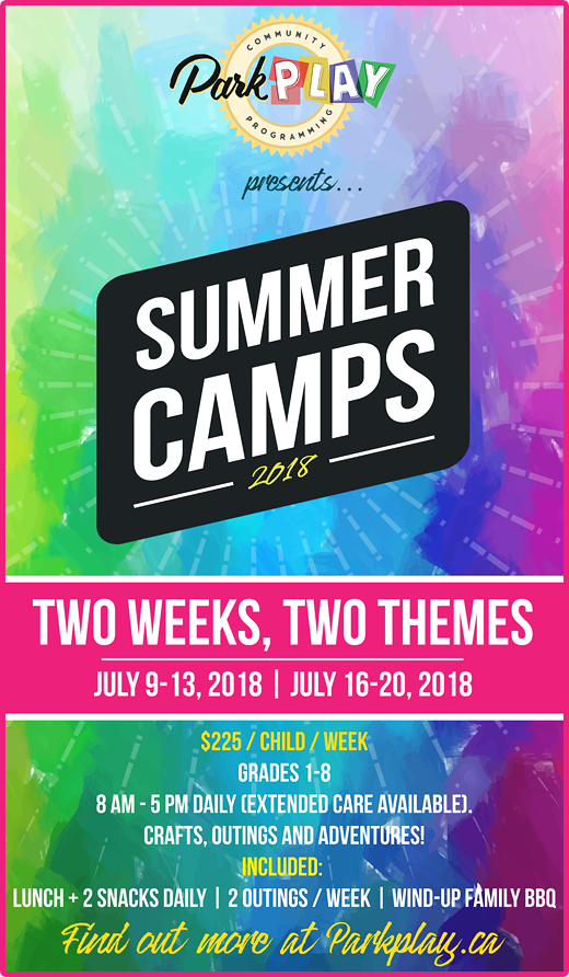 Park Play Presents Summer Camps 2018 Two Weeks, Two Themes